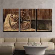 The Old Antique Wheel from cart on Background of hay and barn x3 Panels, Made With Top Quality, Amazing Picture