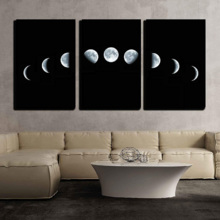 "- 3 Piece Canvas Wall Art - Nine Phases of The Full Growth Cycle of The Moon Isolated on Black Background - Modern Home Art Stretched and Framed Ready to Hang - 16""x24""x3 Panels"