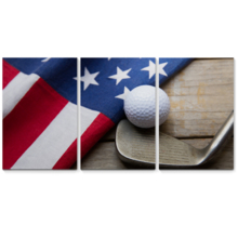 Nothing But Stars, Stripes & Golf - 3 Panel Canvas Art