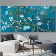 Delightful Object of Art, Quality Creation, Van Gogh's Masterpiece Almond Blossoms Retouched x3 Panels