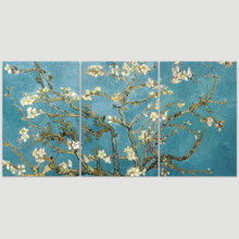 """3 Piece Canvas Wall Art - Van Gogh's Masterpiece Almond Blossoms Retouched - Modern Home Art Stretched and Framed Ready to Hang - 24""""x36""""x3 Panels"""