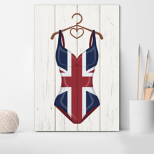Premium Creation, Stunning Craft, Women Swimming Suit with UK Flag Pattern on Vintage Wooden Background