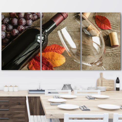 3 Piece Canvas Wall Art - Red Wine - Modern Home Art Stretched and Framed Ready to Hang - 16