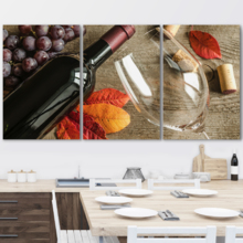 "3 Piece Canvas Wall Art - Red Wine - Modern Home Art Stretched and Framed Ready to Hang - 16""x24""x3 Panels"