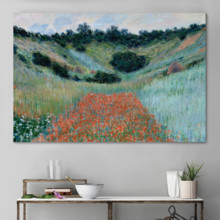 Poppy Field in a Hollow Near Giverny (Option #2) by Claude Monet - Canvas Art