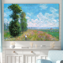 With a Professional Touch, Marvelous Craft, Meadow with Poplars by Claude Monet Impressionist Art