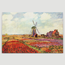 Tulip Fields In Holland by Claude Monet - Canvas Art