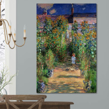 Monet's Garden At Vetheuil (Option #2) by Claude Monet - Canvas Art