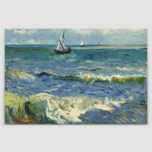 Seascape Near Les Saintes Maries De La Mer by Vincent Van Gogh - Oil Painting Reproduction on Canvas Prints Wall Art, Ready to Hang - 12x18 inches