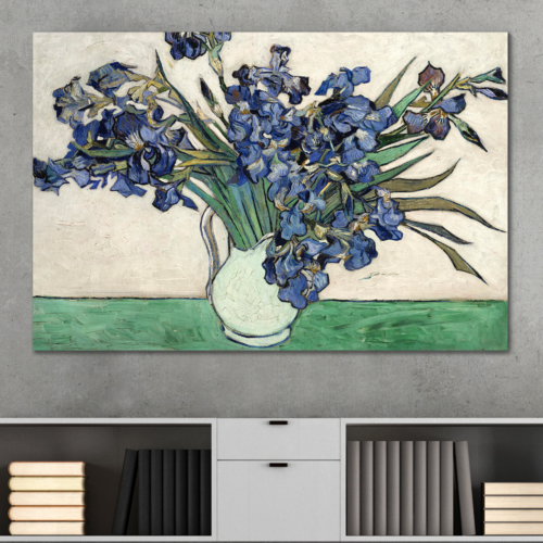 That You Will Love, Marvelous Expertise, Irises in a Vase by Vincent Van Gogh Oil Painting Reproduction