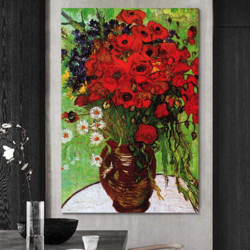 Red Poppies Daisies Vincent Van Gogh - Oil Painting Reproduction on Canvas Prints Wall Art, Ready to Hang - 12