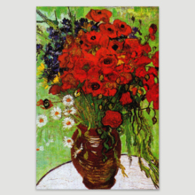 "Red Poppies Daisies Vincent Van Gogh - Oil Painting Reproduction on Canvas Prints Wall Art, Ready to Hang - 12"" x 18"""