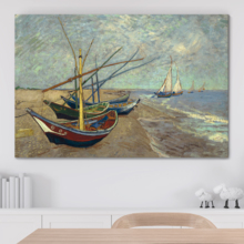 Fascinating Work of Art, Original Creation, Fishing Boats on The Beach at Les Saintes Maries de la Mer by Vincent Van Gogh Oil Painting Reproduction