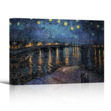 Starry Night Over The Rhone Vincent Van Gogh - Oil Painting Reproduction on Canvas Prints Wall Art, Ready to Hang - 16x24 inches