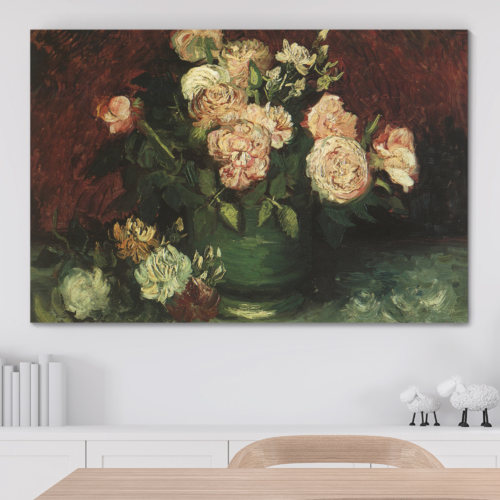 Incredible Technique, Premium Product, Bowl with Peonies and Roses by Vincent Van Gogh Oil Painting Reproduction