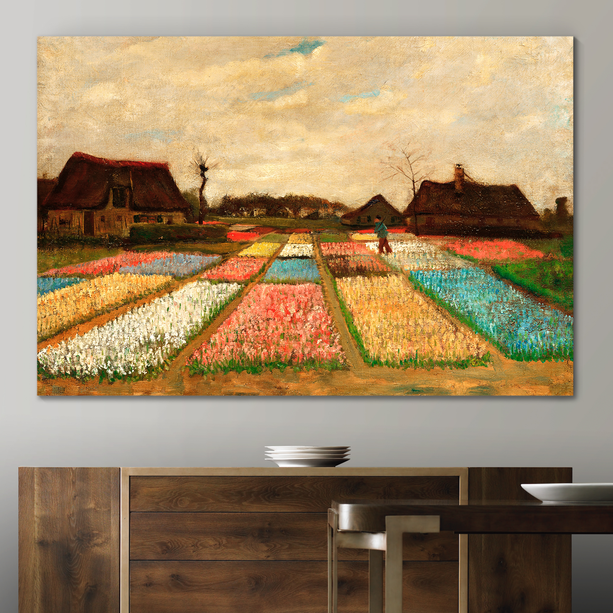 Original Creation, Incredible Print, Bulb Fields (Also Called Flower Beds in Holland) by Vincent Van Gogh Oil Painting Reproduction