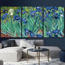 Quality Creation, Handsome Print, 3 Panel Irises by Vincent Van Gogh x 3 Panels