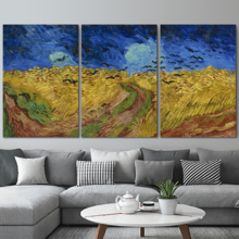Magnificent Object of Art, 3 Panel Wheatfield with Crows by Vincent Van Gogh x 3 Panels, Created Just For You