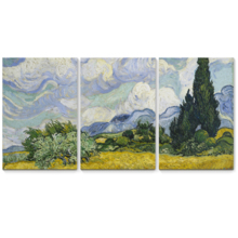 """3 Panel Canvas Wall Art - Wheat Field with Cypresses by Vincent Van Gogh - Giclee Print Gallery Wrap Modern Home Art Ready to Hang - 16""""x24"""" x 3 Panels"""