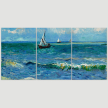 Astonishing Piece of Art, Quality Creation, 3 Panel Seascape Near Les Saintes Maries de la Mer by Vincent Van Gogh x 3 Panels