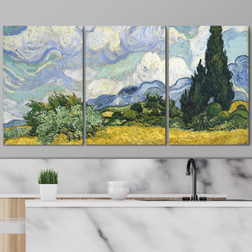 3 Panel Canvas Wall Art - Wheat Field with Cypresses by Vincent Van Gogh - Giclee Print Gallery Wrap Modern Home Art Ready to Hang - 24