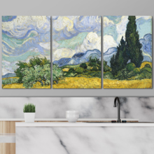 3 Panel Wheat Field with Cypresses by Vincent Van Gogh x 3 Panels, Created By a Professional Artist, Magnificent Style