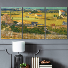 Lovely Visual, Premium Creation, 3 Panel The Harvest by Vincent Van Gogh x 3 Panels