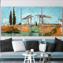 Beautiful Artisanship, 3 Panel The Langlois Bridge at Arles by Vincent Van Gogh x 3 Panels, Quality Creation
