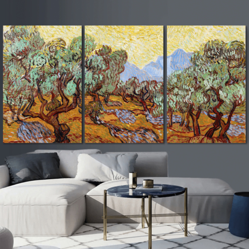 3 Panel Canvas Wall Art - Olive Trees by Vincent Van Gogh - Giclee Print Gallery Wrap Modern Home Art Ready to Hang - 16