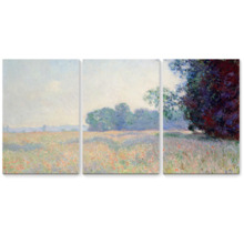 Old Field With Poppies by Claude Monet - 3 Panel Canvas Art