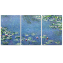 Water-Lilies by Claude Monet - 3 Panel Canvas Art