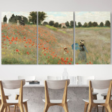 Poppies (Poppy Field) by Claude Monet - 3 Panel Canvas Print