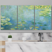 Waterlilies by Claude Monet - 3 Panel Canvas Art