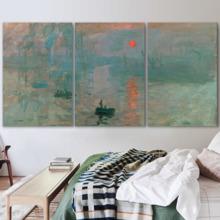 Impression, Sunrise by Claude Monet - 3 Panel Canvas Art