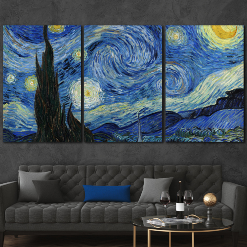 3 Panel Starry Night by Vincent Van Gogh...