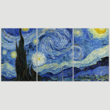"3 Panel Canvas Wall Art - Starry Night Vincent Van Gogh - Giclee Print Gallery Wrap Modern Home Art Ready to Hang - 24""x36"" x 3 Panels"