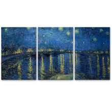"""3 Panel Canvas Wall Art - Starry Night Over The Rhone by Vincent Van Gogh - Giclee Print Gallery Wrap Modern Home Art Ready to Hang - 16""""x24"""" x 3 Panels"""