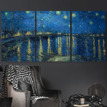 Classic Artwork, Wonderful Picture, 3 Panel Starry Night Over The Rhone by Vincent Van Gogh x 3 Panels