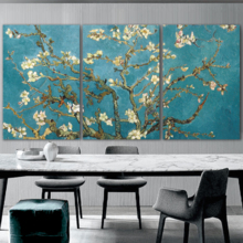 Grand Style, 3 Panel Almond Blossom by Vincent Van Gogh x 3 Panels, Professional Creation