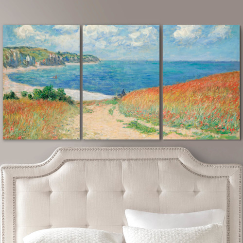 Path in the Wheat at Pourville by Claude Monet - 3 Panel Canvas Art