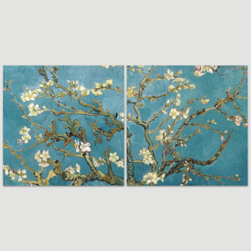 2 Panel Square Canvas Wall Art - Almond Blossom by Vincent Van Gogh - Giclee Print Gallery Wrap Modern Home Art Ready to Hang - 16