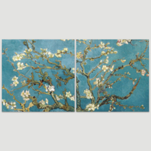"2 Panel Square Canvas Wall Art - Almond Blossom by Vincent Van Gogh - Giclee Print Gallery Wrap Modern Home Art Ready to Hang - 16""x16"" x 2 Panels"