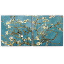 Top Quality Design, Dazzling Expert Craftsmanship, 2 Panel Square Almond Blossom by Vincent Van Gogh x 2 Panels