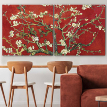 2 Panel Square Almond Blossom in Red by Vincent Van Gogh x 2 Panels, Crafted to Perfection, Alluring Work of Art