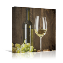 Square Canvas Wall Art - Rustic Style Wine in Glass and Wine Bottle with Grapes - Giclee Print Gallery Wrap Modern Home Art Ready to Hang - 12x12 inches