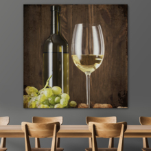 Square Canvas Wall Art - Rustic Style Wine in Glass and Wine Bottle with Grapes - Giclee Print Gallery Wrap Modern Home Art Ready to Hang - 24x24 inches