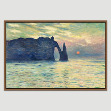 The Cliff, Etretat, Sunset by Claude Monet - Framed Canvas