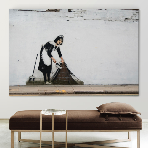 banksy sweep it under the carpet poster print all sizes modern art deco banksy
